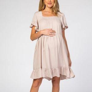 Light Taupe Tiered Ruffle Maternity Dress
